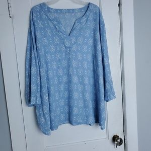TUNIC TOP BLUE AND WHITE COLOR